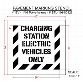 """4"""" CHARGING STATION ELECTRIC VEHICLES ONLY Stencil - with striped border"""