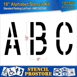 """Pavement Stencils - 18 inch ALPHABET KIT STENCIL SET - (28 Piece) - 18"""" x 9"""""""