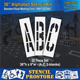 """Pavement Stencils - 36 inch ALPHABET KIT STENCIL SET - (28 Piece) - 36"""" x 9"""""""
