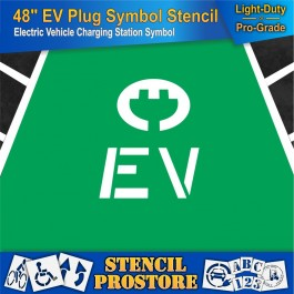 Parking Lot Stencils - 48 in - Plug with EV Letters - 48'' x