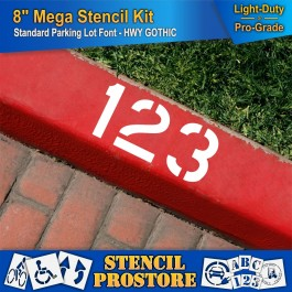 "Pavement Stencils - 8 inch MEGA ALPHA/NUM SET - (64 Piece) - 8"" x 6"""