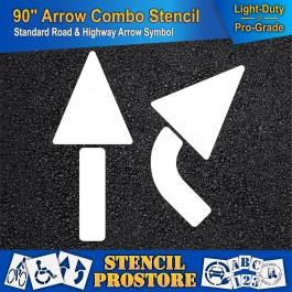 "Pavement Stencils -  90 inch - STRAIGHT & TURN COMBO ARROW KIT - (3 Piece) - 90"" x 36"""