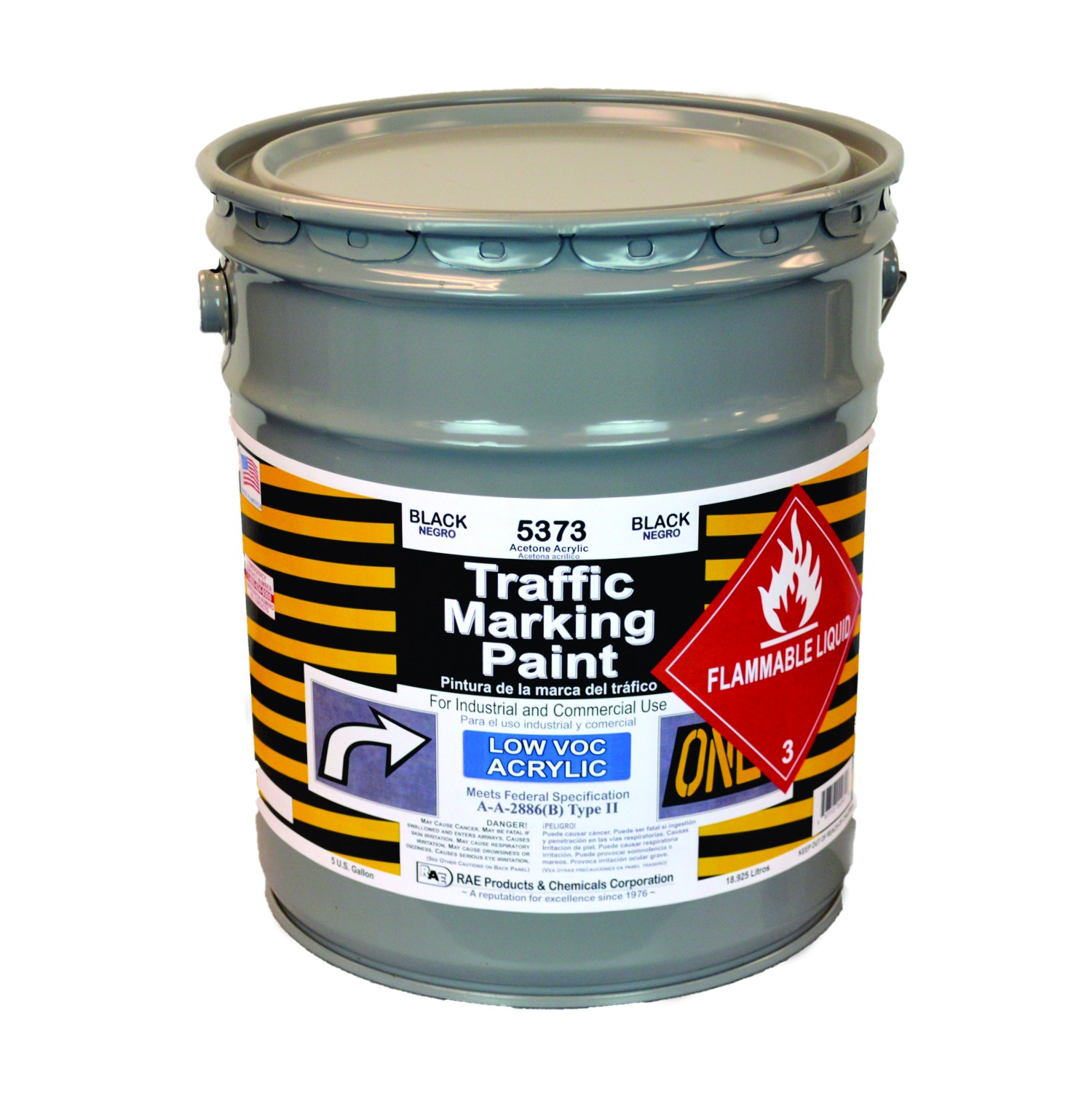 RAE Black - 5 Gallon - Acetone Acrylic - Low VOC - Solvent Based Marking Paint - 5373-05 - Rae Products and Chemicals Corp | RAE Paint