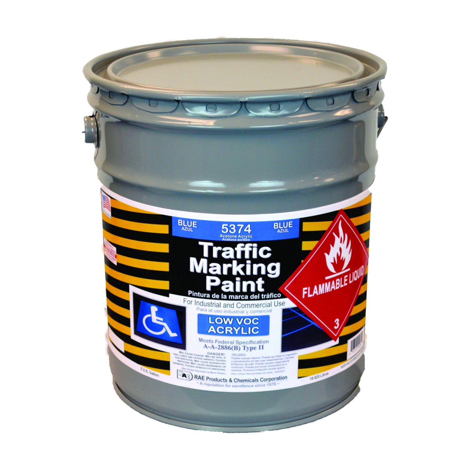 RAE Blue - 5 Gallon - Acetone Acrylic - Low VOC - Solvent Based Marking Paint - 5374-05 - Rae Products and Chemicals Corp | RAE Paint