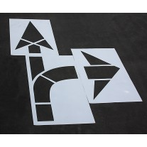 "Pavement Stencils - 160 inch - STRAIGHT & TURN COMBO ARROW KIT for MUTCD, FHWA, Road & HWY DOT - (3 Piece) - 160"" x 90"""