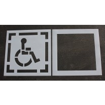 "Pavement Stencils -  30 inch - HANDICAP - ADA Stencil with Border & Background - (2 Piece) - 42"" x 42"""