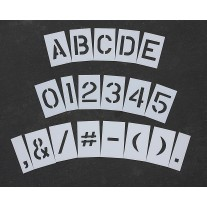 "Curb & Median Stencils - 4 inch MEGA ALPHA/NUM SET - (64 Piece) - 4"" x 3"""