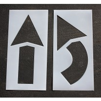 "Pavement Stencils -  42 inch - STRAIGHT & TURN ARROW KIT - (2 Piece) - 42"" x 20"""