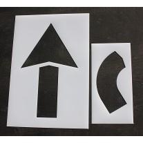 "Pavement Stencils -  60 inch - STRAIGHT & TURN COMBO ARROW KIT - (2 Piece) - 60"" x 36"""