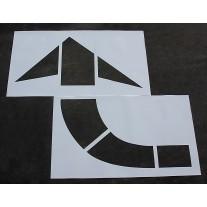 "Pavement Stencils - 96 inch - CURVED / TURN ARROW Stencil for MUTCD, FHWA, Road & HWY DOT - (2 Piece) - 96"" x 84"""