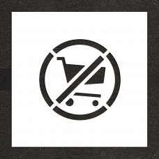 "12"" No shopping Carts Symbol Stencil"