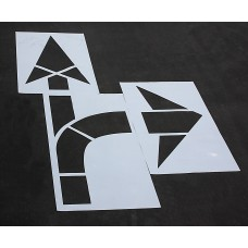 "Pavement Stencils - 160 inch - STRAIGHT & TURN COMBO ARROW KIT for MUTCD, FHWA, Road & HWY DOT - (3 Piece) - 160"" x 90"""