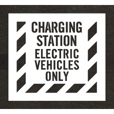 "4"" CHARGING STATION ELECTRIC VEHICLES ONLY Stencil - with striped border"