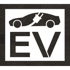 "48"" Electric Vehicle Charging Station Electric Vehicle Car w/ Plug Stencil"