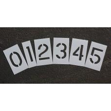 "Curb and Median Stencils - 6 inch NUMBER KIT STENCIL SET - (12 Piece) - 6"" x 4"""