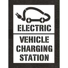 Car Logo Electric Vehicle Charging Station w/symbol - 6 FT WIDE Stencil