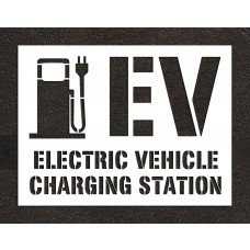 Electric Vehicle Pump Symbol - Electric Vehicle Charging Station - 6 FT WIDE Stencil