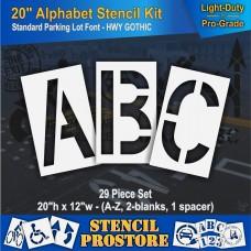 """Pavement Stencils - 20 inch ALPHABET KIT STENCIL SET - (29 Piece) - 20"""" x 12"""""""
