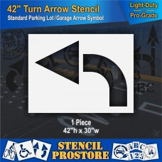 "Pavement Stencils - 42 inch - CURVED / TURN ARROW Stencil - 42"" x 30"""