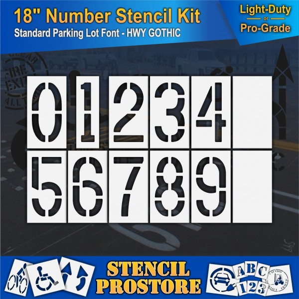 Pavement Stencils 18 Inch Number Kit Stencil Set 12