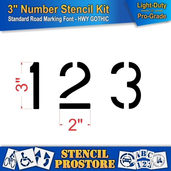 Curb And Median Stencils 3 Inch Number Kit Stencil Set