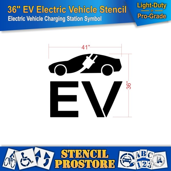 Parking Lot Stencils 36 In Electric Vehicle Silhouette