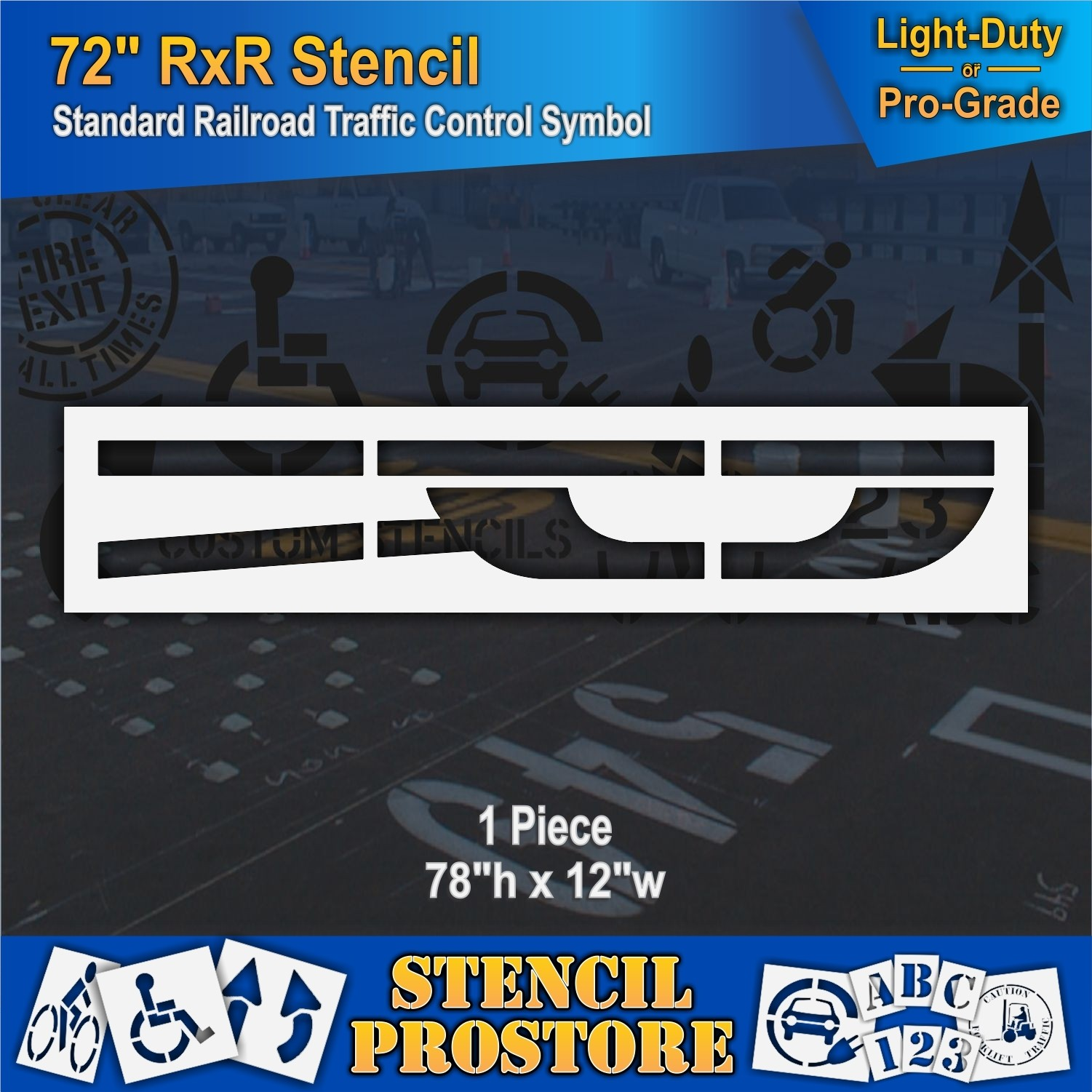 Pavement Stencils - 78 inch - RAILROAD - LETTER 'R' - Road